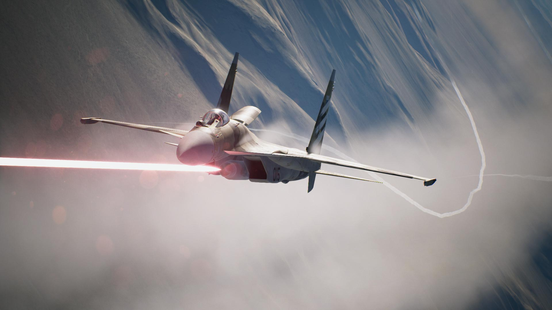 Jet firing machine gun in Ace Combat 7.