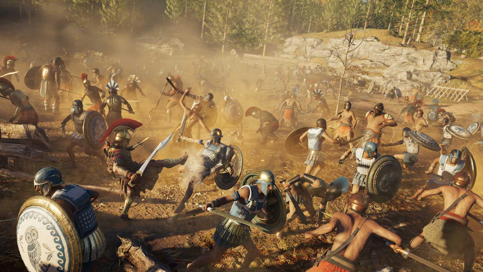 150 Spartans fight 150 Athenians.