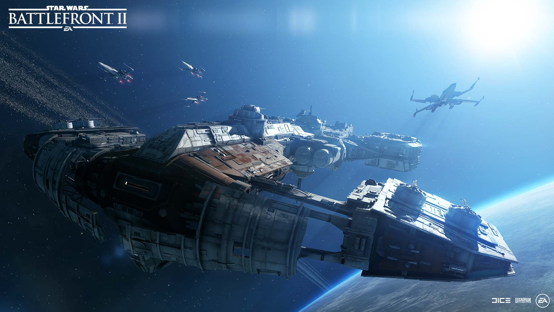 Vista of the DQar space battle in Battlefront 2.