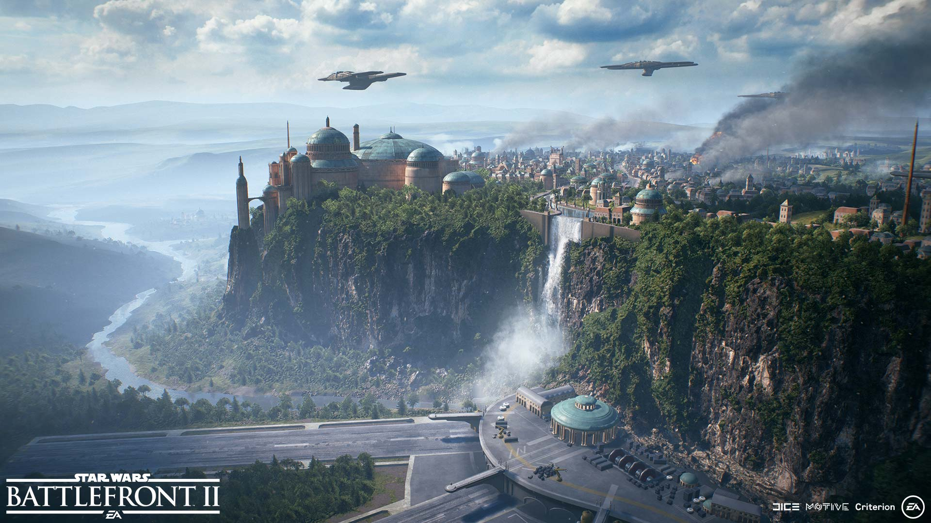 View over Theed, the capital of planet Naboo.
