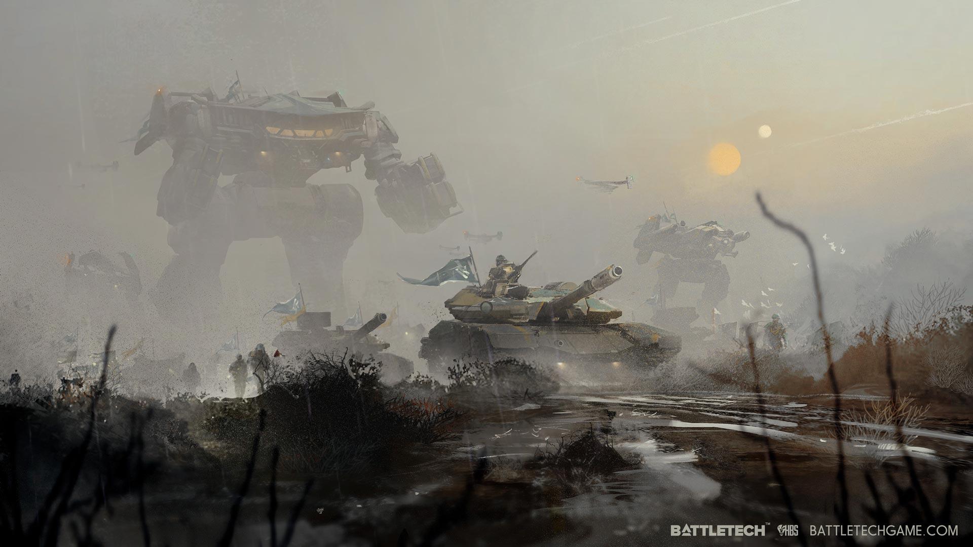 Mercenary tank accompanying BattleMechs