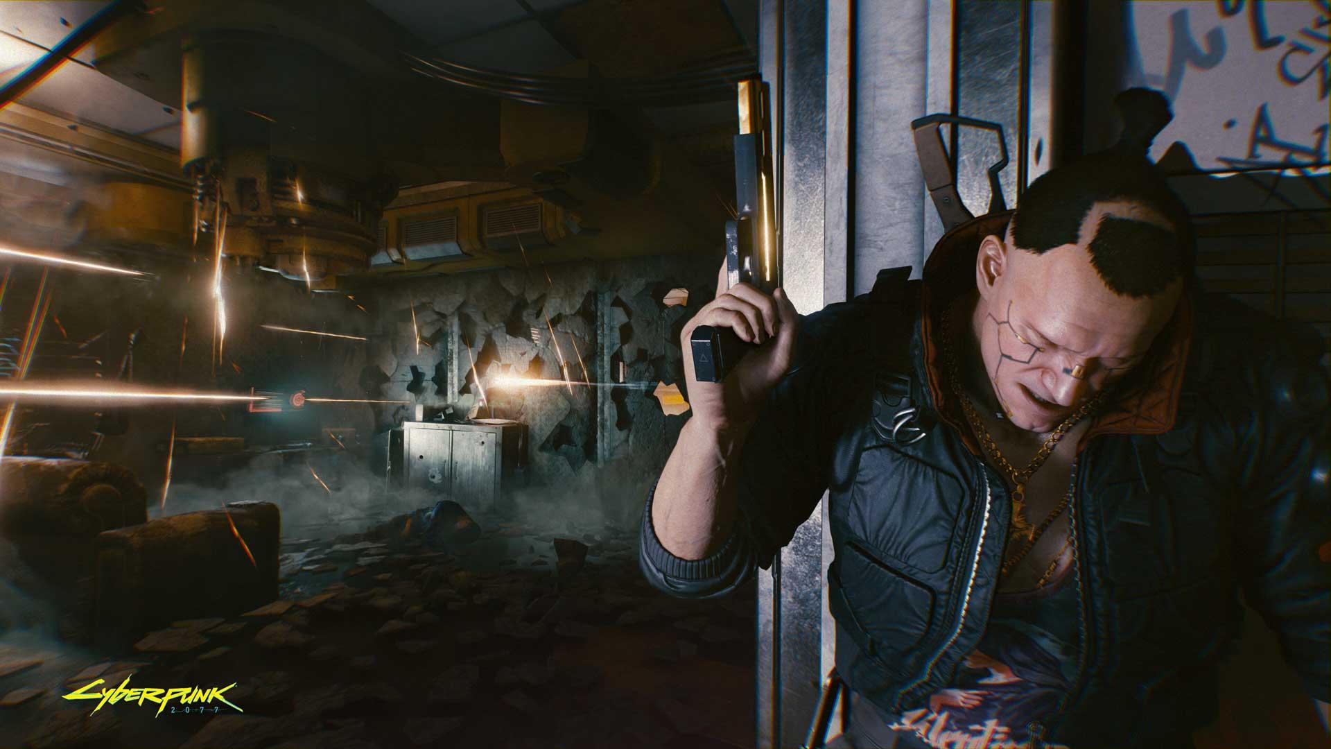 Cyberpunk 2077: Character hiding behind wall