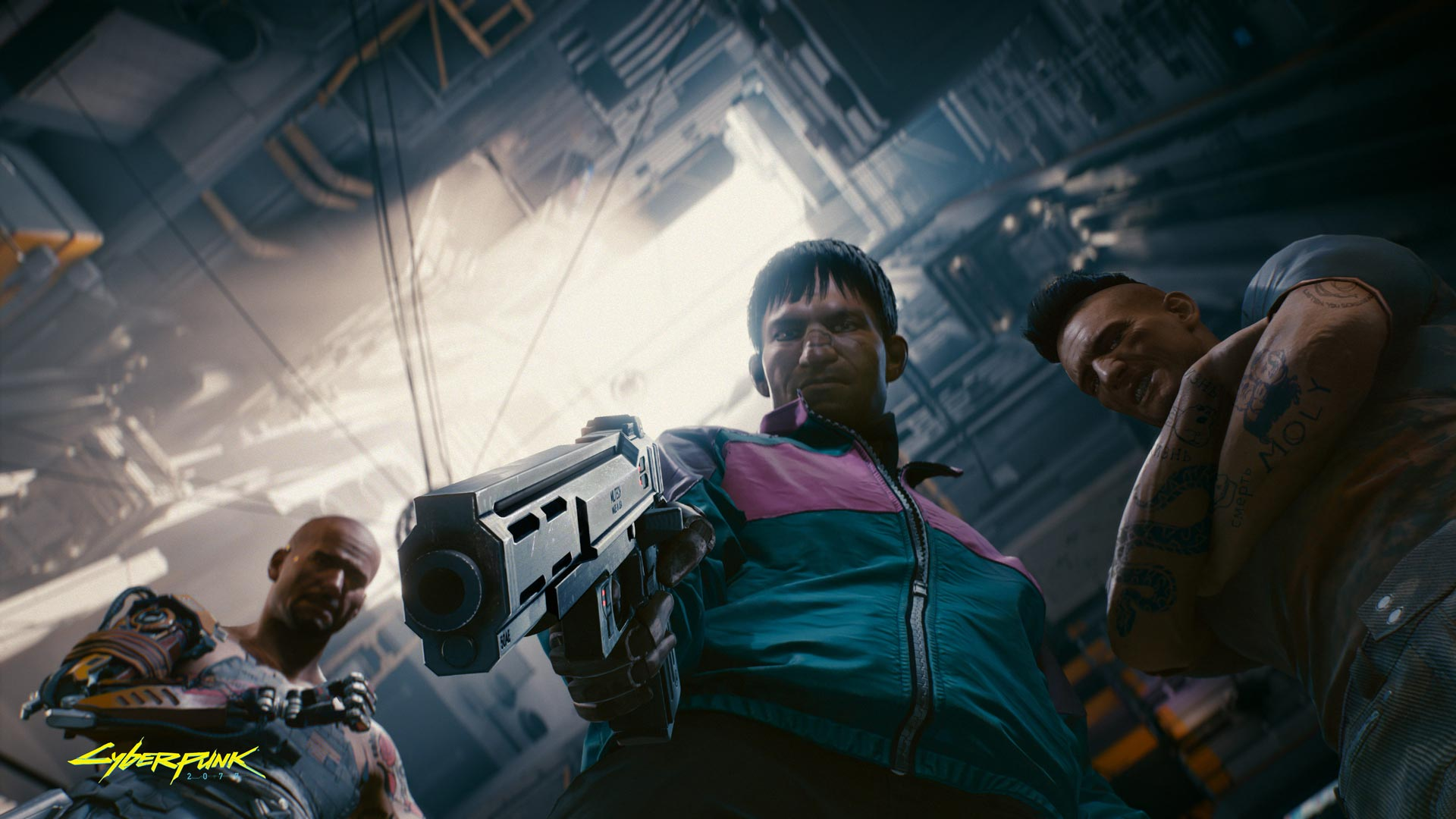 Cyberpunk 2077: The prominently represented beefy character on the right with the distinctive haircut is probablyJackie Welles, you can hire him as support while playing V yourself