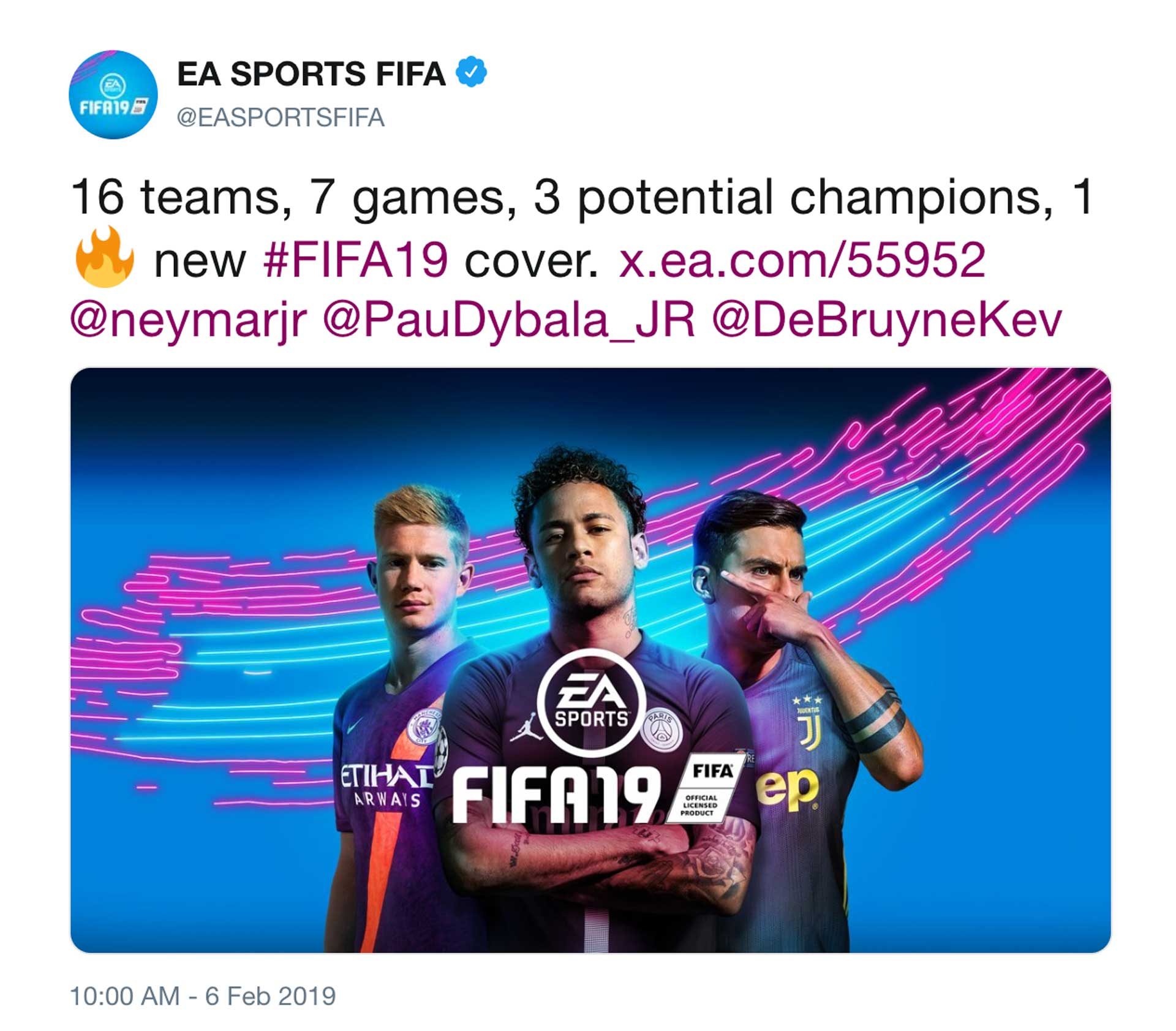 Fifa 19 cover tweet