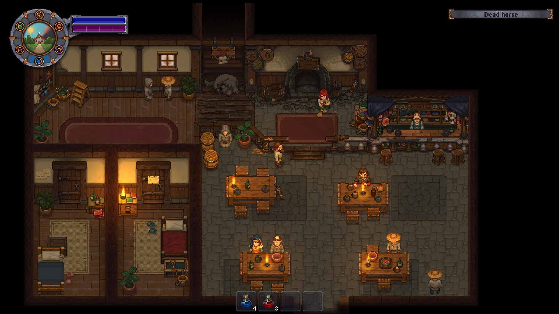Graveyard Keeper: Sell human meat at your local tavern.