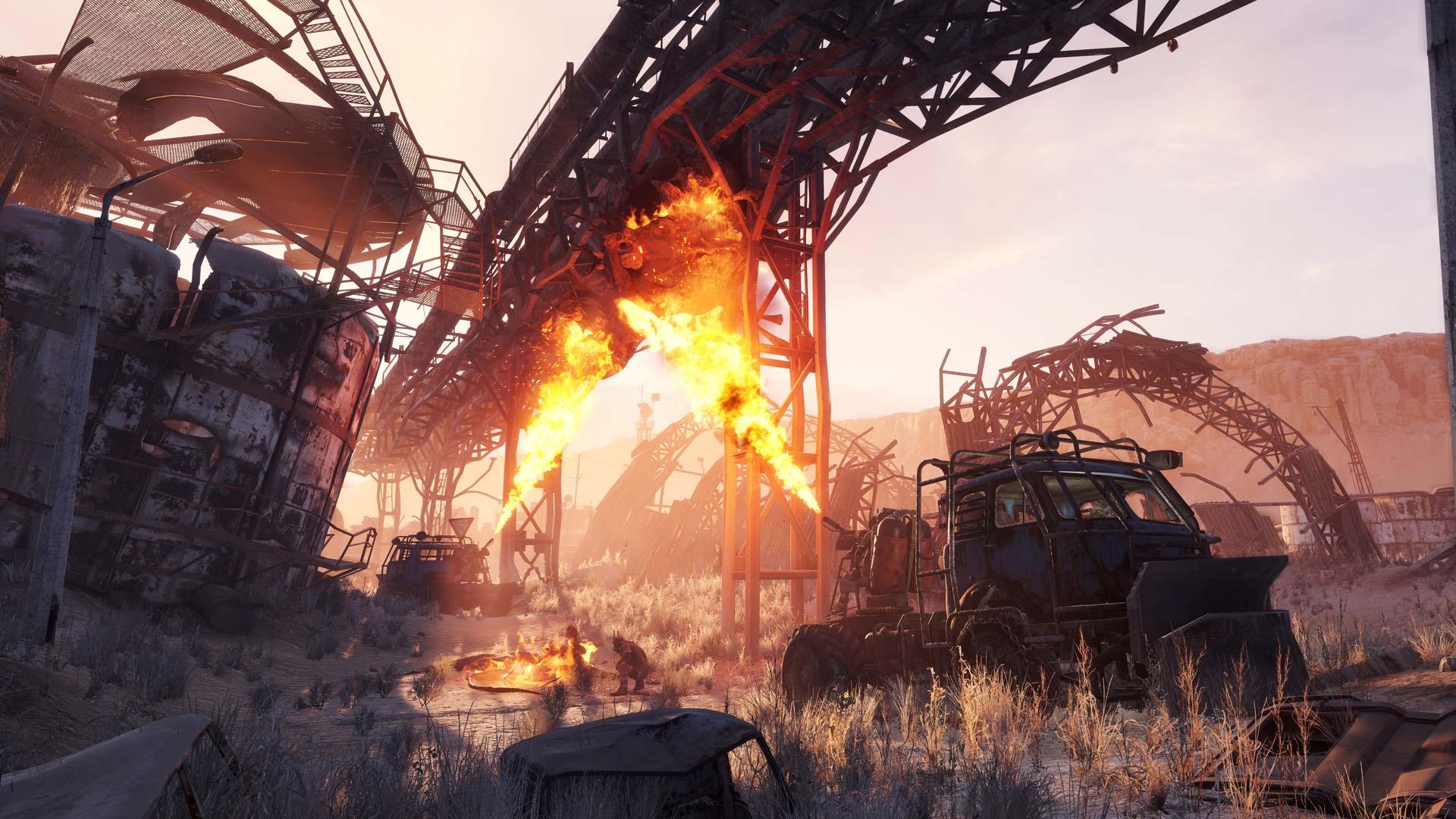 Flamethrowers underneath underpass in Metro: Exodus