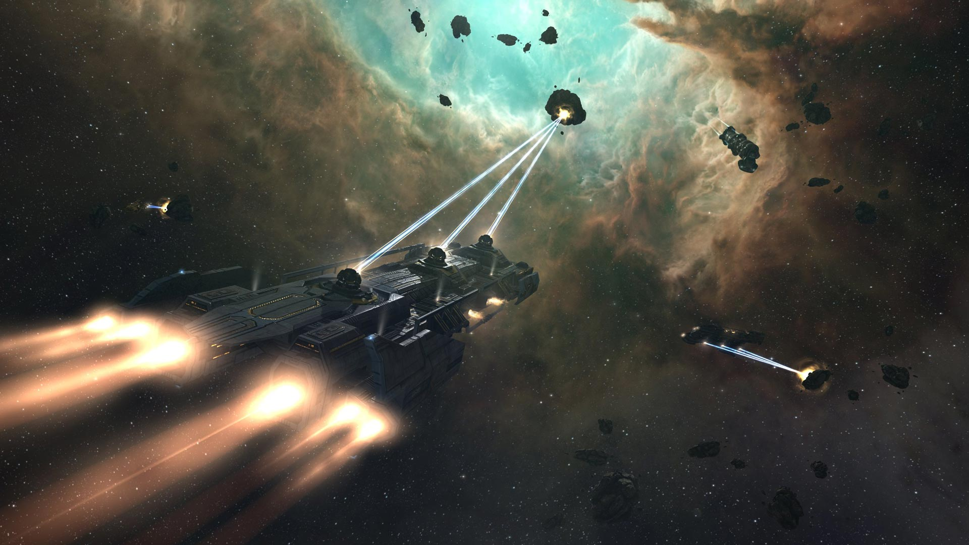 A ship mining in space from EVE Online
