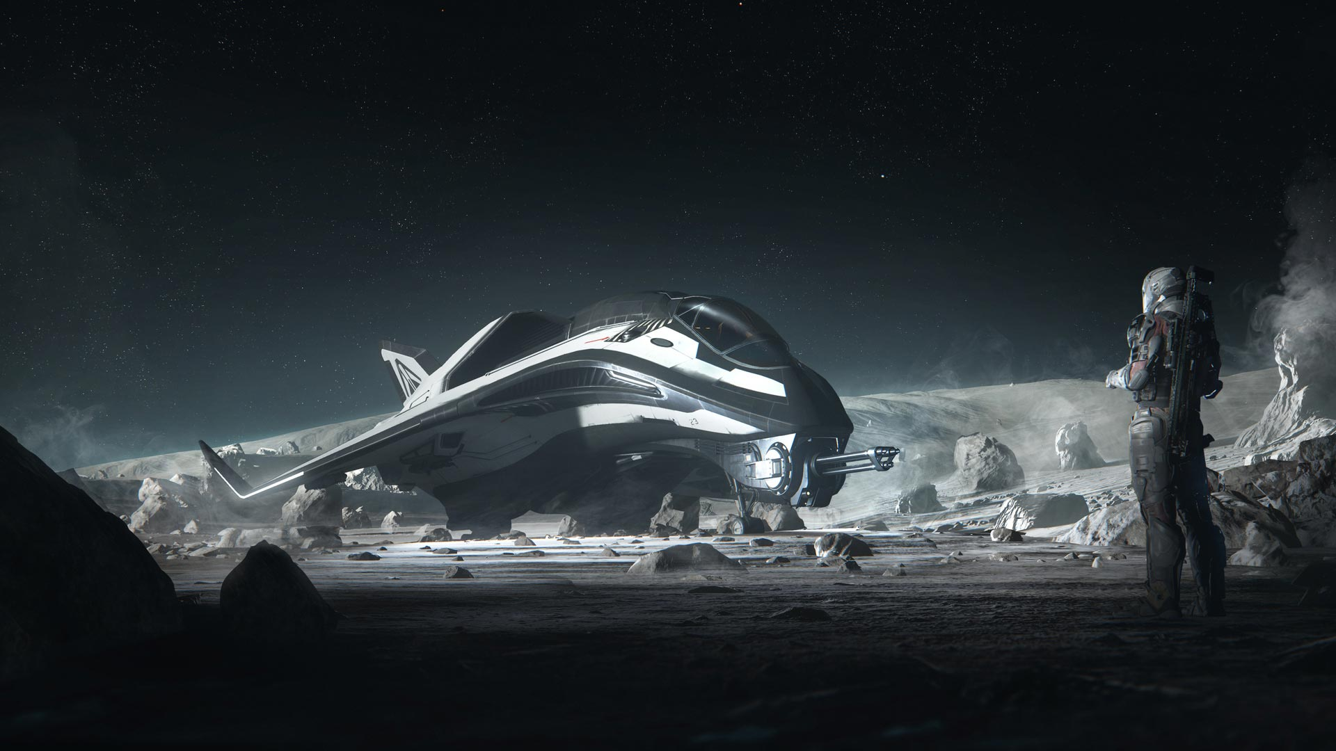 A spaceship as seen in Star Citizen.