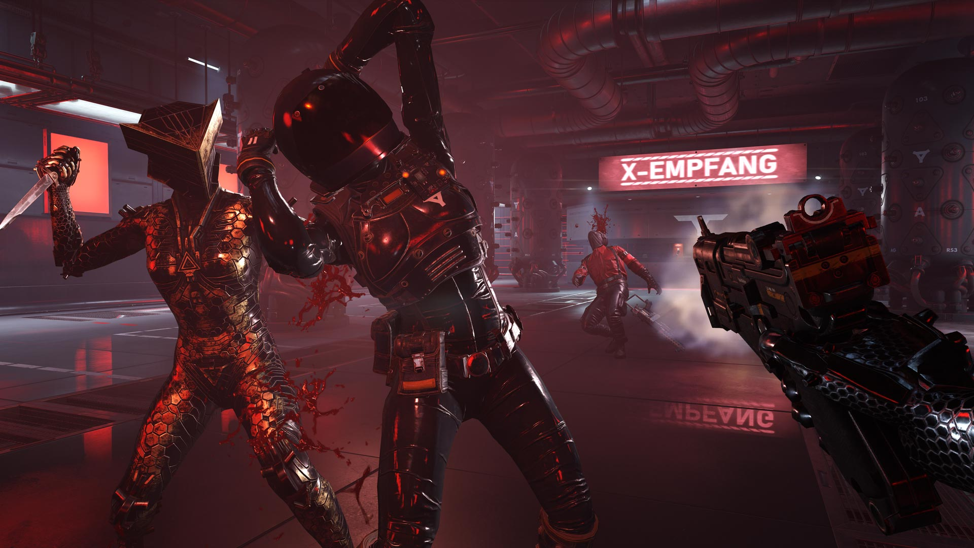 One of the sister's stabs an enemy in the back in Wolfenstein: Youngblood.