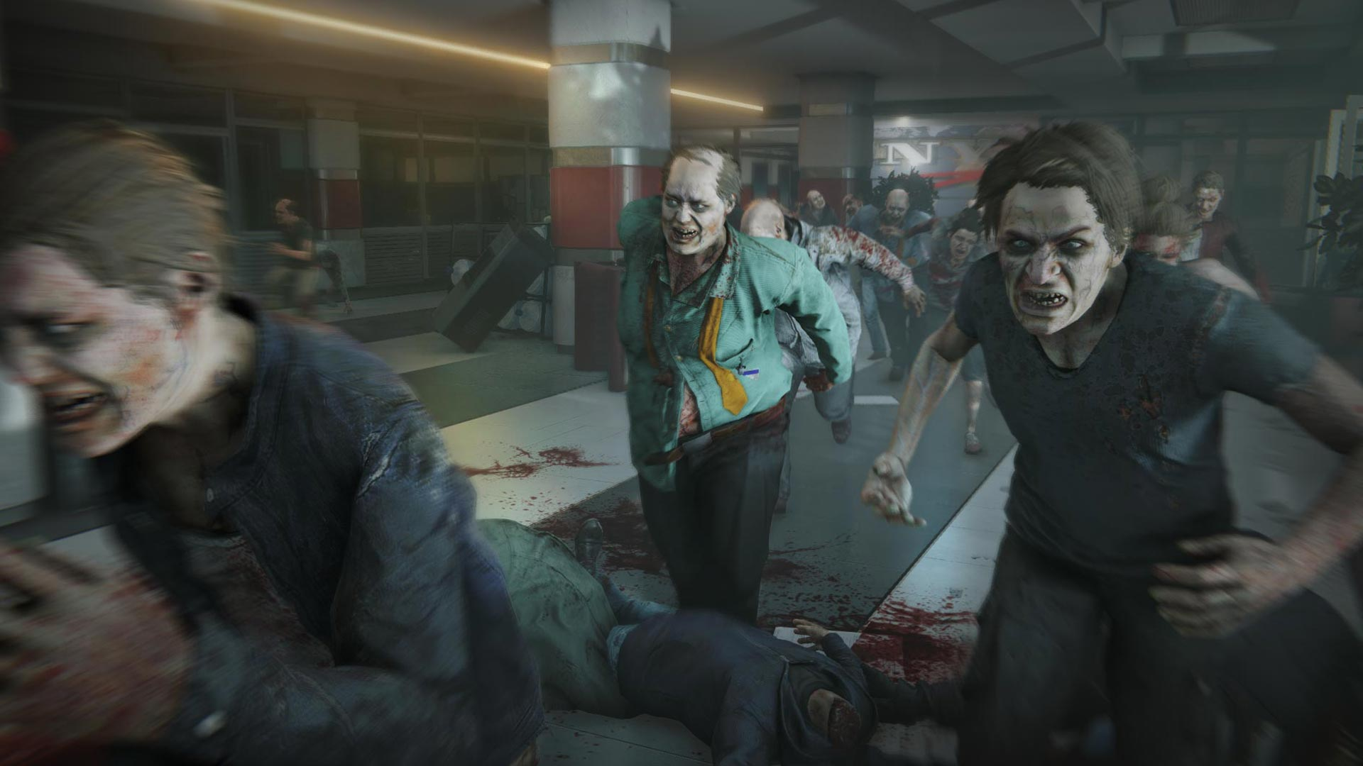 Zombie horde attacking player.
